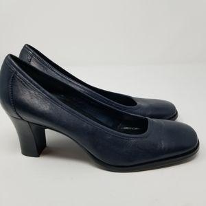 Etienne Aigner Leather Navy Square Toe Pump Heel